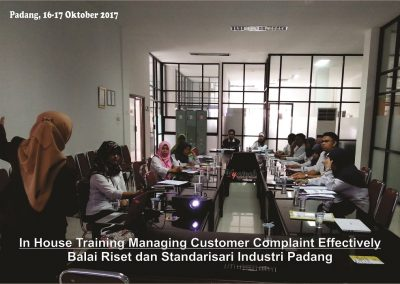 20171016 Managing Customer Complaint Effectively - Balai Riset dan Standarisari Industri Padang 2