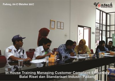 20171016 Managing Customer Complaint Effectively - Balai Riset dan Standarisari Industri Padang 3