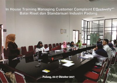 20171016 Managing Customer Complaint Effectively - Balai Riset dan Standarisari Industri Padang